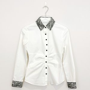 New York & Company Black and White Button Down Top
